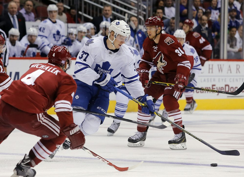 Maple Leafs right wing Carter Ashton, seen in a game Tuesday night against the Arizona Coyotes, was suspended for 20 games without pay by the NHL on Thursday after failing a drug test.