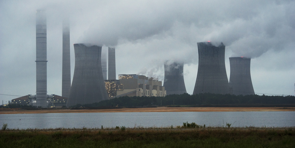 Coal-fired power plants like this one in Georgia contribute to much of the air pollution in Maine. Coastal areas of the state suffer the worst.