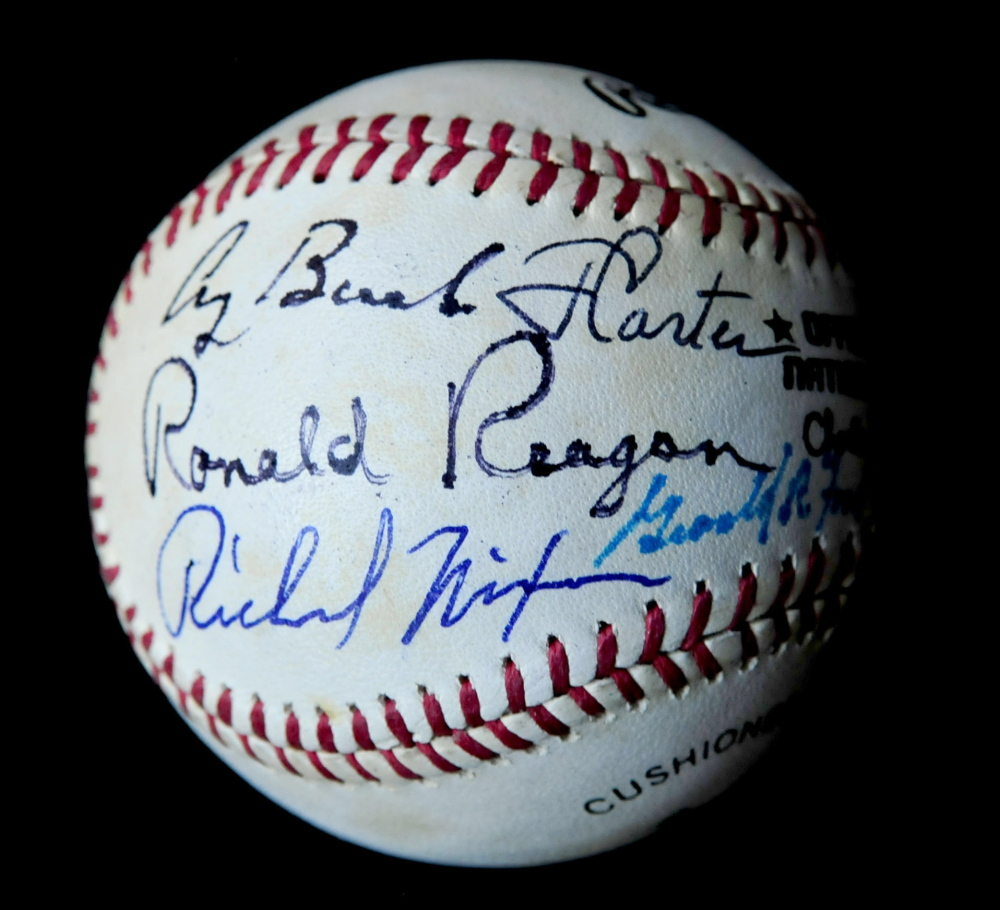 A baseball once owned by Joe DiMaggio and now owned by the Rev. Mark Tanner, of Skowhegan, is signed by seven U.S. presidents, everyone from Richard Nixon through Barack Obama, with the exception of George W. Bush.