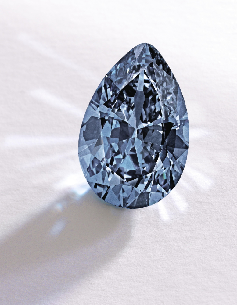 """This Fancy Vivid Blue pear-shaped diamond from the estate of Rachel """"Bunny"""" Mellon sold Thursday for $32.6 million."""