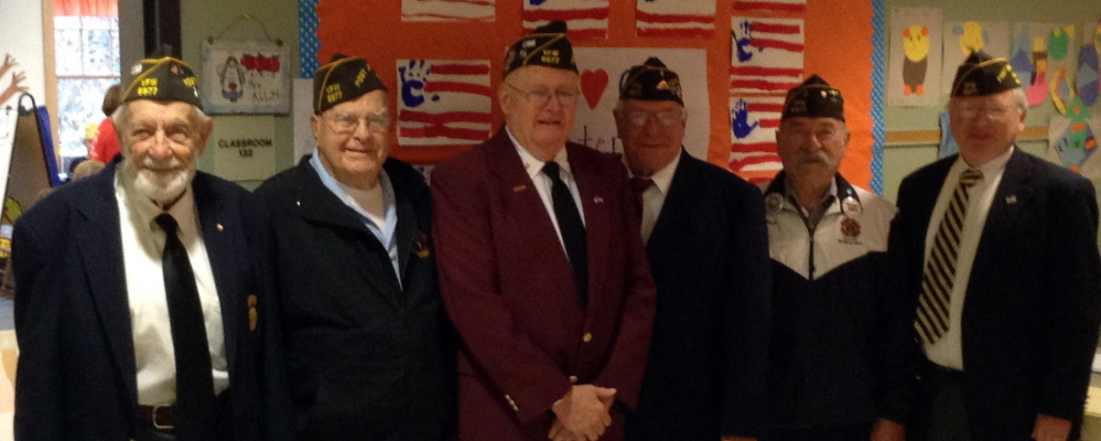 Veterans from VFW Post No. 6977 of York attended an assembly honoring veterans at Wells Elementary School on Nov. 7.  From left are Edward Benoit, John Primerano, Melvyn Bates, Larry Wicker, Charles Andrews and Raymond Farnham.