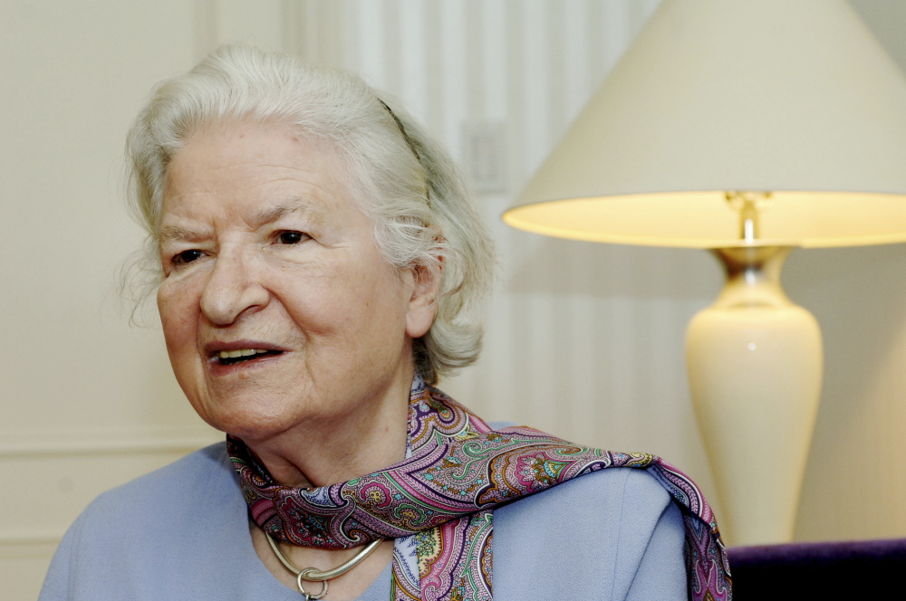 "P.D. James discusses her novel ""The Lighthouse"" in 2005. The author, who brought realistic modern characters to the classical British detective story, died Thursday."