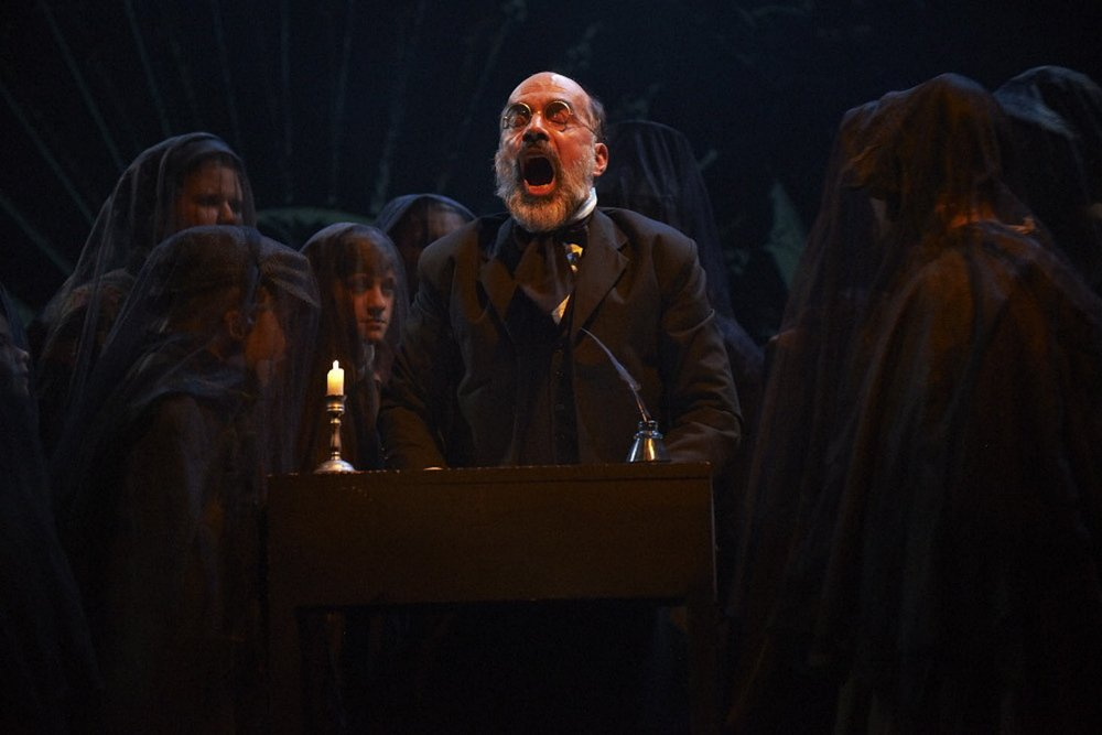 """Ron Botting as Scrooge in Portland Stage Company's """"A Christmas Carol."""""""