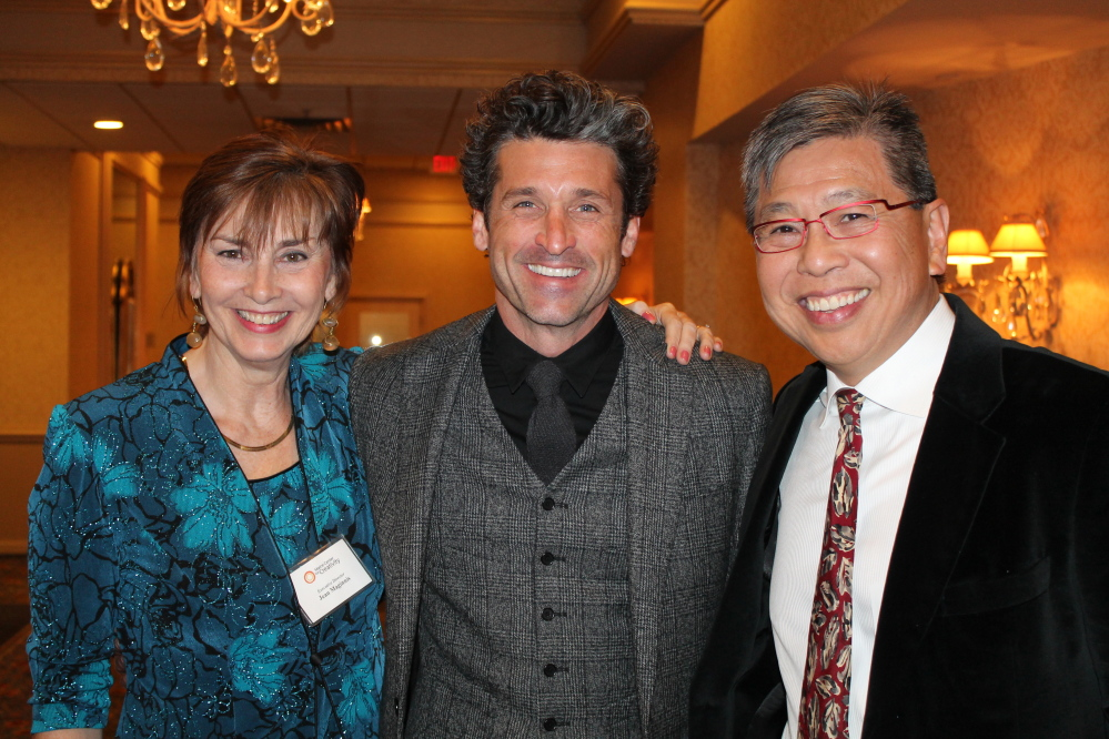 Jean Maginnis, executive director of the Maine Center for Creativity, with honorees Patrick Dempsey and Dr. Edison Liu, representing The Jackson Laboratory, at the Maine Creative Industries Award Gala.