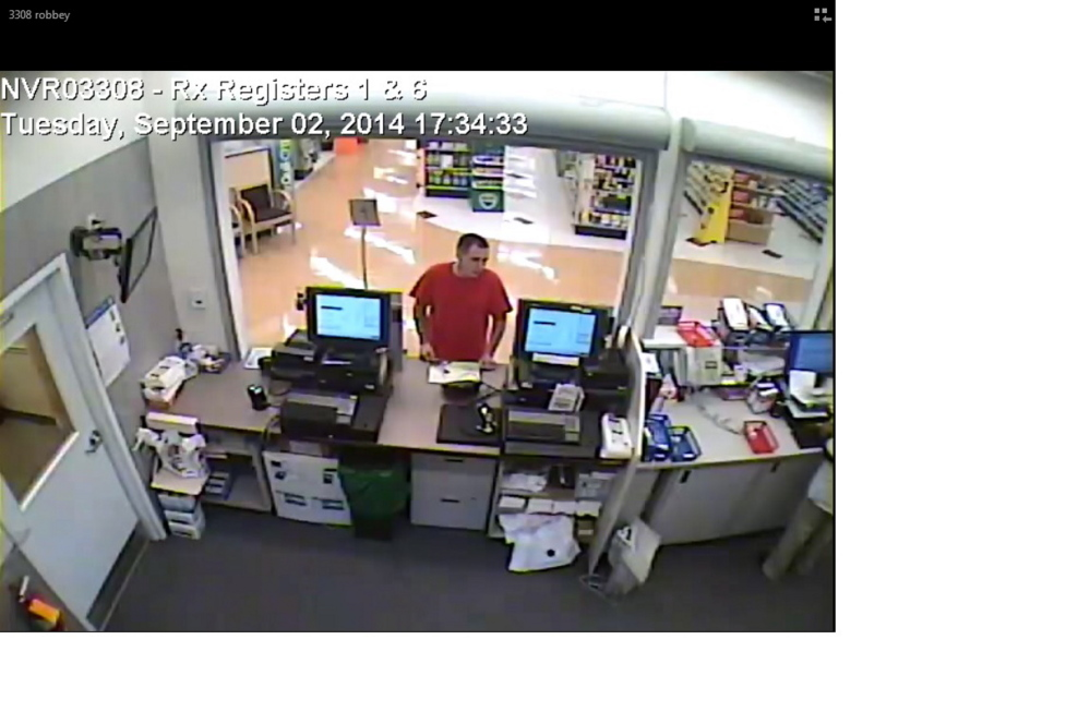 Store surveillance video shows a suspect in an attempted robbery Sept. 2 at the Rite Aid pharmacy on North Belfast Avenue in Augusta. Dominic J. Pomerleau, who police say is the man in this photo, and two other people have been charged in connection with this robbery as well as one 20 minutes later at the Rite Aid pharmacy on Hospital Street.