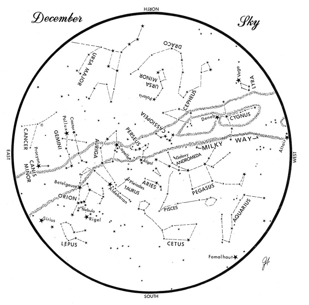This chart represents the sky as it appears over Maine during December. The stars are shown as they appear at 9:30 p.m. early in the month, at 8:30 p.m. at midmonth and at 7:30 p.m. at month's end. No planets are visible at chart time. To use the map, hold it vertically and turn it so that the direction you are facing is at the bottom.