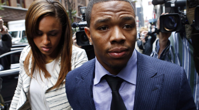 Ray Rice arrives with his wife, Janay Palmer, for an appeal hearing of his indefinite suspension from the NFL in New York on Nov. 5. The Associated Press