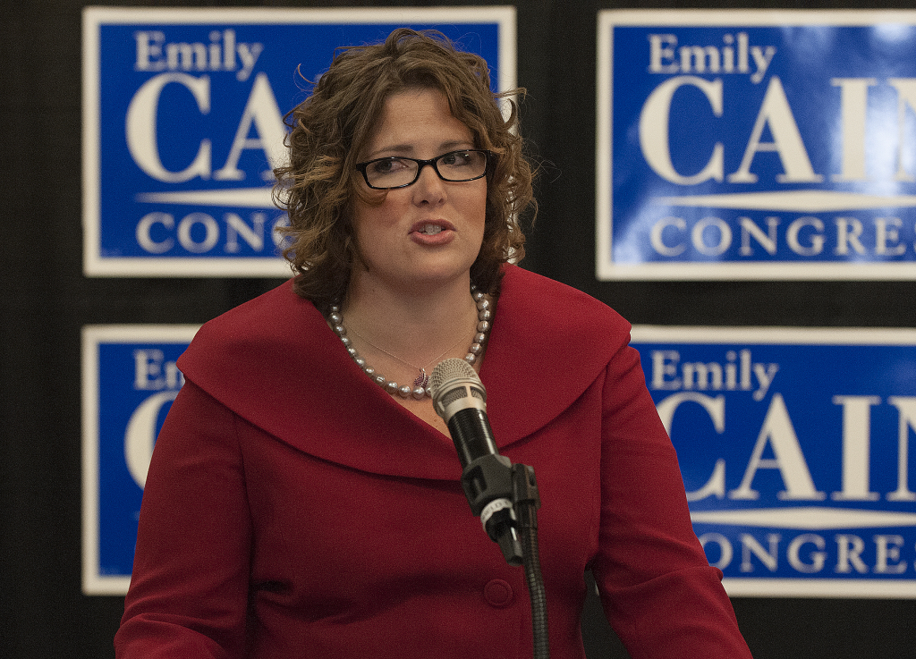 Emily Cain speaks to her supporters Tuesday at the Bangor Hilton Garden Inn.
