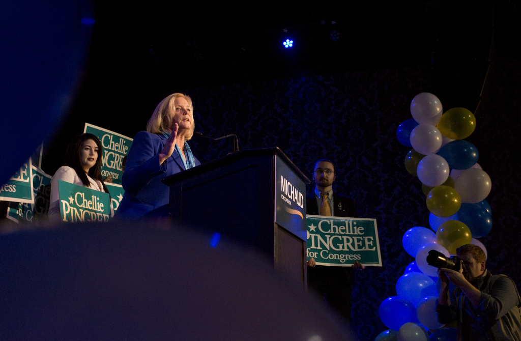 U.S. Rep. Chellie Pingree, a North haven Democrat, gives her victory speech at Port City Music Hall in Portland after she was re-elected to the House of Representatives on Tuesday.