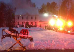 A house burns on  Woodfield Drive in Scarborough on Thursday. Courtesy Scarborough Fire Department