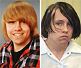 Dylan Collins, 18, in a family photo from earlier this year, left, and on Nov. 7 when he appeared in York County Superior Court to face charges of murder and arson in a Sept. 18 fire.