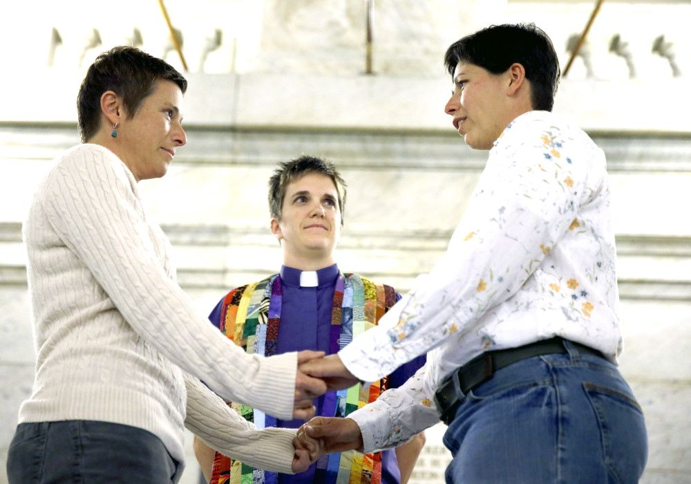 A gay couple marries in St. Louis, Missouri. A new federal appeals court ruling has thrown up a roadblock to gay marriage in some states. The Associated Press