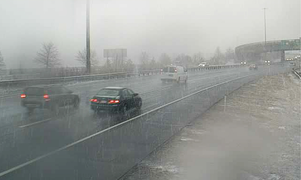 This webcam screen image of conditions on I-295 northbound at 12:31 p.m. Maine Department of Transportation image