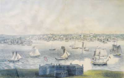 The thin strip of land that extends into the harbor from the left is Gravelly Point, where Joseph Libbey and 25 other men from Edward Low's pirate crew were hanged in July 1723. The island in the foreground, with the fort, is Goat Island, where the men were buried after the execution in Newport, R.I.