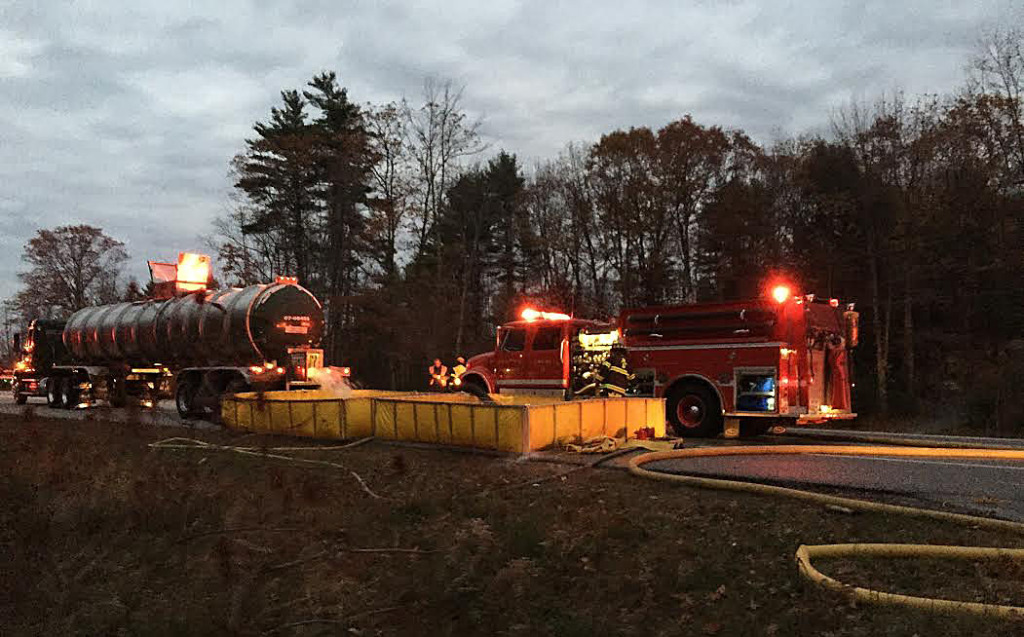 A passing Poland Spring Water tanker truck stopped and provided 8.500 gallons of water to douse the flames at 12 Abby Lane, which is located in an area with no fire hydrants. New Gloucester Fire & Rescue photo