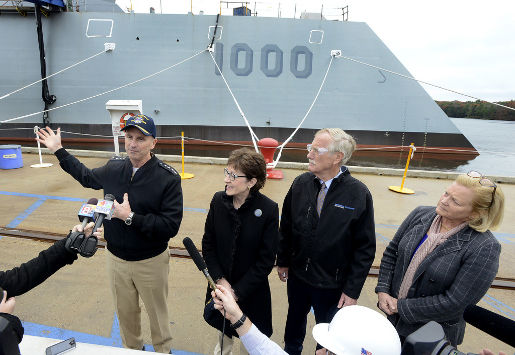 Chief of Naval Operations Adm. Jonathan W. Greenert toured the USS Zumwalt at BIW with U.S. Sens. Angus King and Susan Collins and U.S. Rep Chellie Pingree on Wednesday. John Patriquin / Staff Photographer