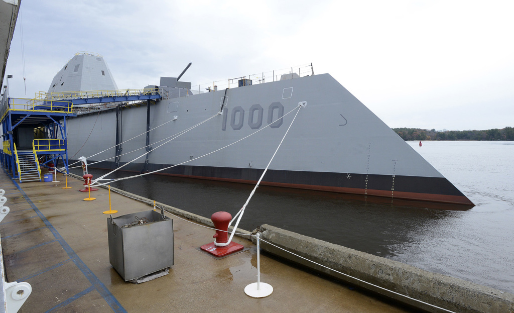 The USS Zumwalt  is designed to be able to hit speeds of up to 30 knots, operate in shallower waters and carry more precise weaponry than used on the Arleigh Burke destroyers also built at BIW.  John Patriquin / Staff Photographer
