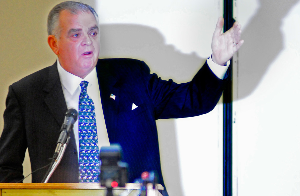 Ray LaHood, former U.S. secretary of transportation, gives the keynote address Thursday at the Maine Transportation Conference at the Augusta Civic Center. He told the audience,