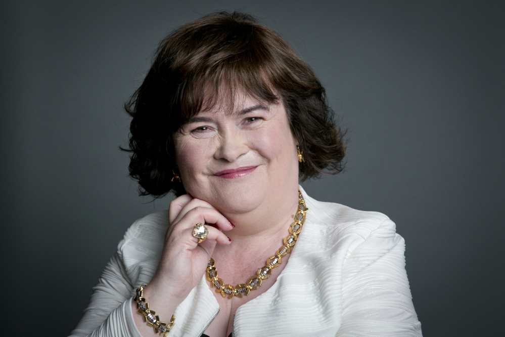 Scottish singer Susan Boyle in a June 24, 2014, photo. The contrast between her timid, occasionally nervous, manner and her matchless soaring voice has won her millions of fans throughout the world.