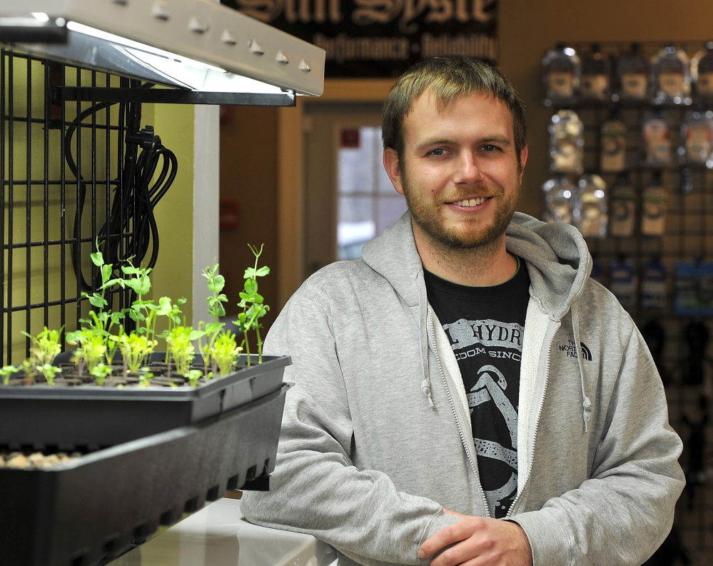 """Sean Hegarty, co-owner of High Wire Hydroponics in Raymond, says he achieved """"substantial savings"""" by using a salvaged bathtub instead of a pricier pond for a display."""