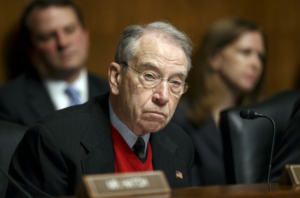 Sen. Chuck Grassley, R-Iowa, Grassley sys he doesn't rule out holding confirmation hearings and a vote by his panel on an Obama selection.