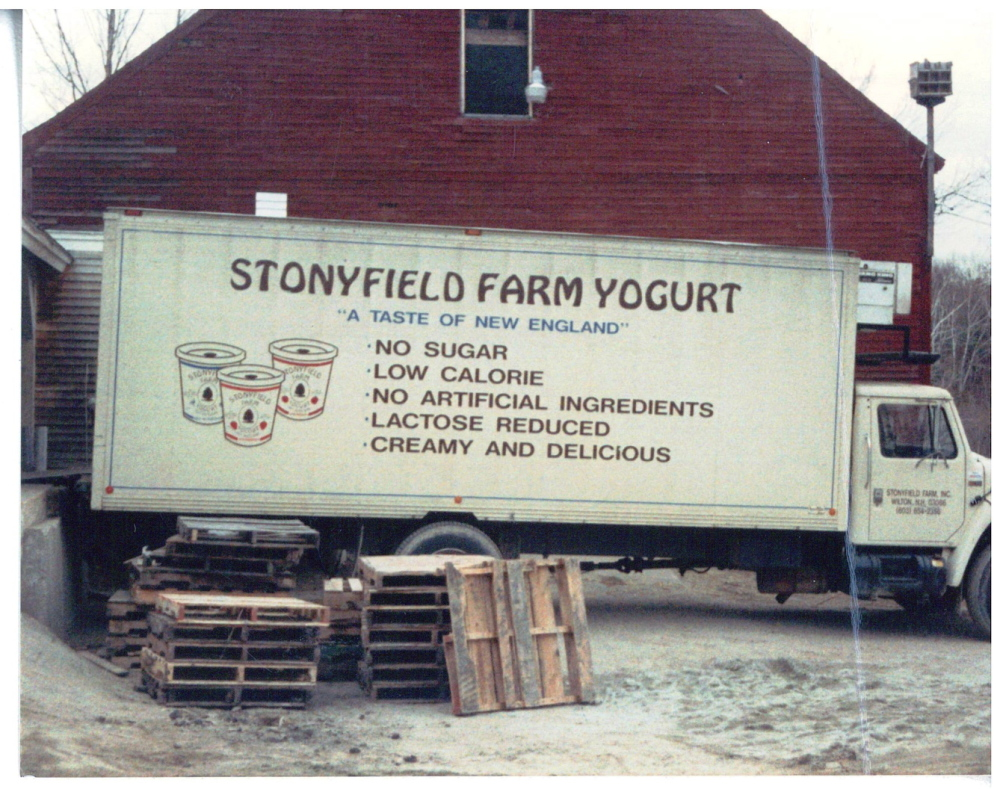 The original delivery truck used by New Hampshire-based Stonyfield Farm, which started producing yogurt in the mid-'80s. The company went nine years before turning a profit.