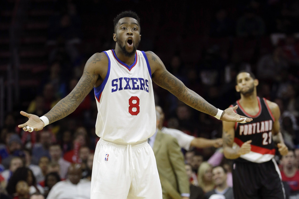 The Philadelphia 76ers' Tony Wroten reacts to a call during a game against the Portland Trail Blazers last week in Philadelphia. The winless 76ers are the worst team in the NBA and on a long losing streak for the second straight season.