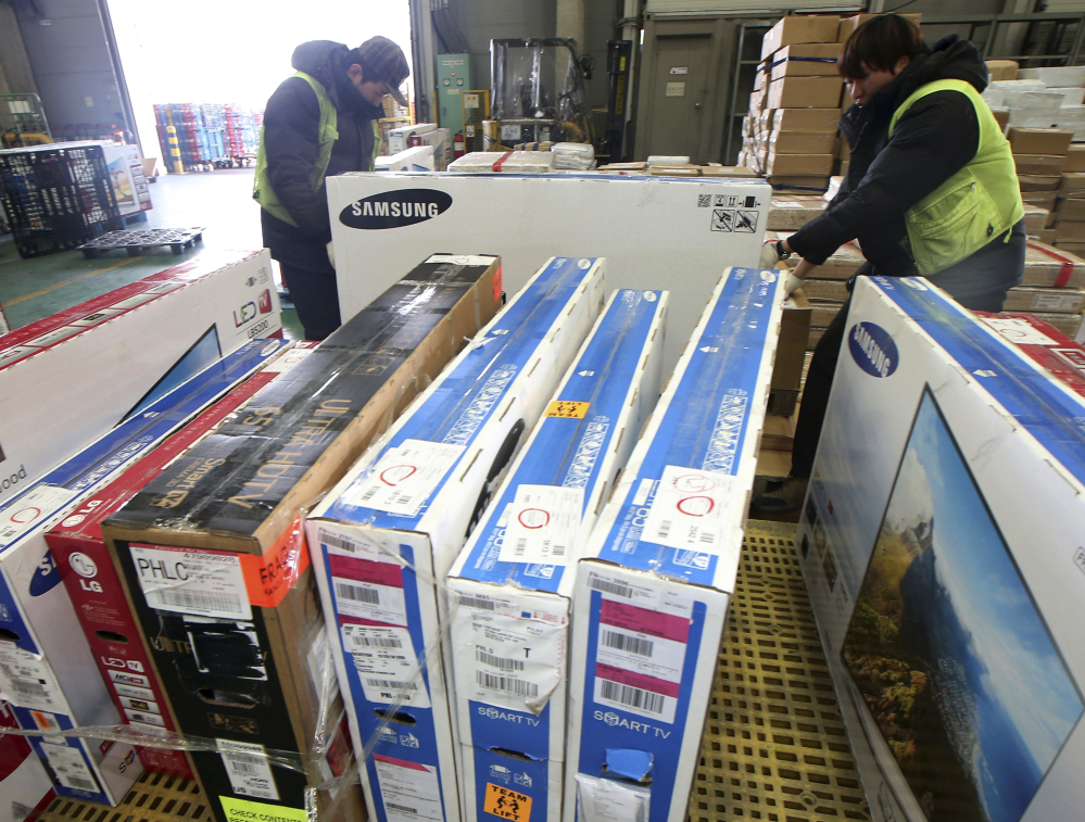 TVs purchased from overseas online markets undergo customs inspections in Incheon, South Korea.