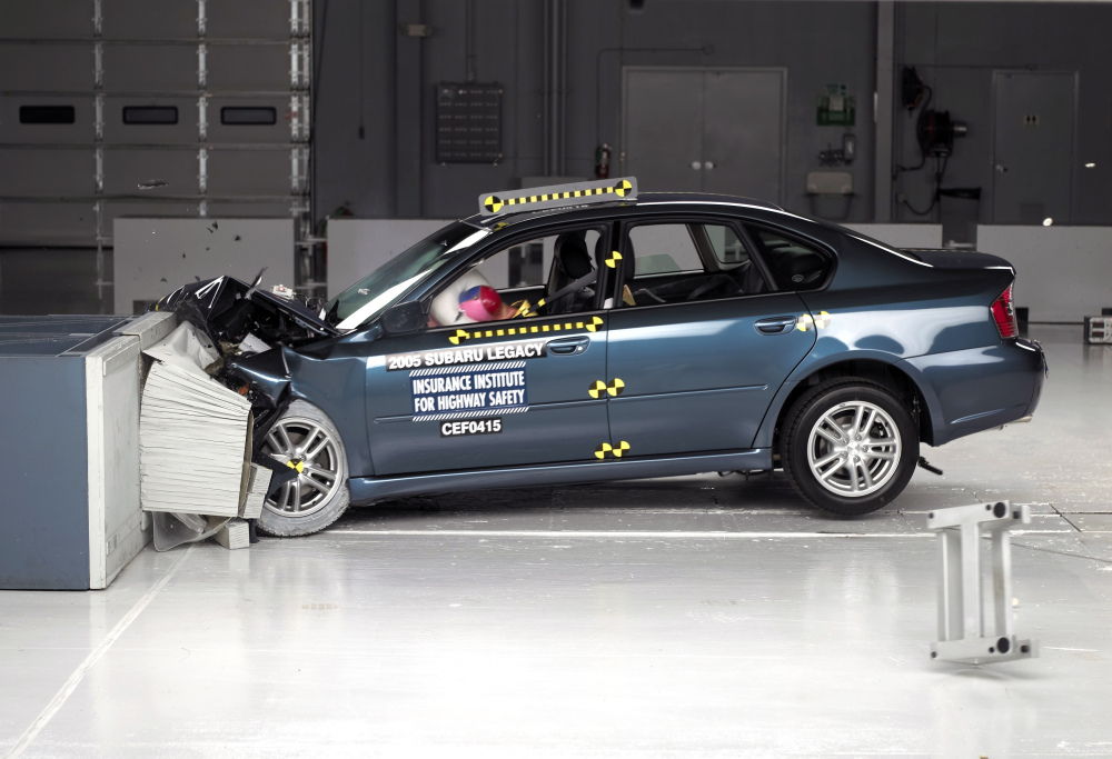 This undated photo provided by the Insurance Institute for Highway Safety shows the frontal offset crash test of the 2005 Subaru Legacy.