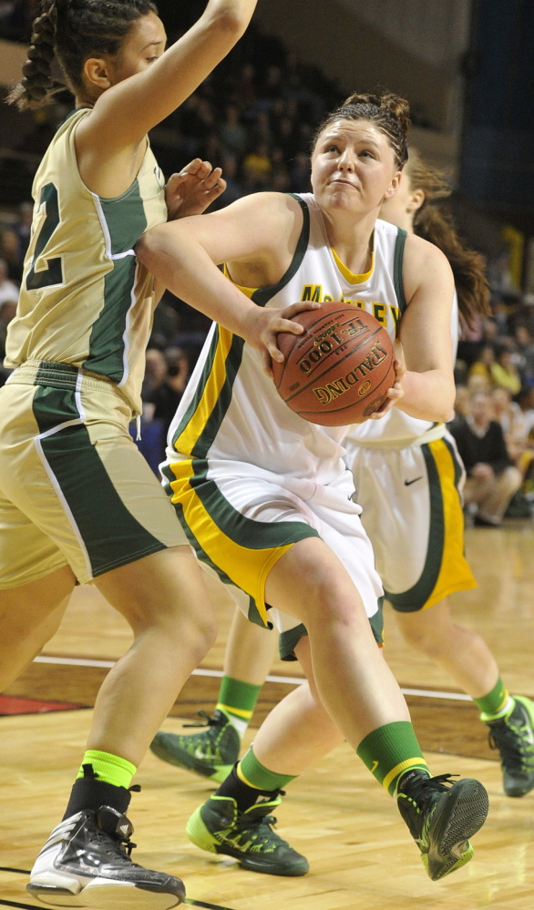 Victoria Lux brought an inside presence to McAuley, such as in the Class A state title game last season against Oxford Hills, and will bring the same strength to Thornton Academy for her senior year.