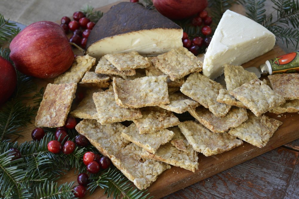 Kathy Heye's homemade crackers, ready to serve with cheese at her home in Freeport.