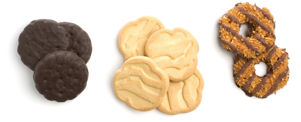 Girl Scout cookies: thin mint, shortbread and caramel delight.