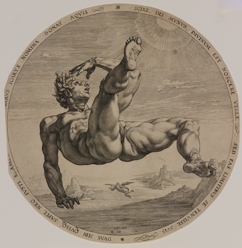 """Icarus,"" from ""The Four Disgracers,"" 1588, engraving. Bowdoin College Museum of Art, Brunswick, Maine"