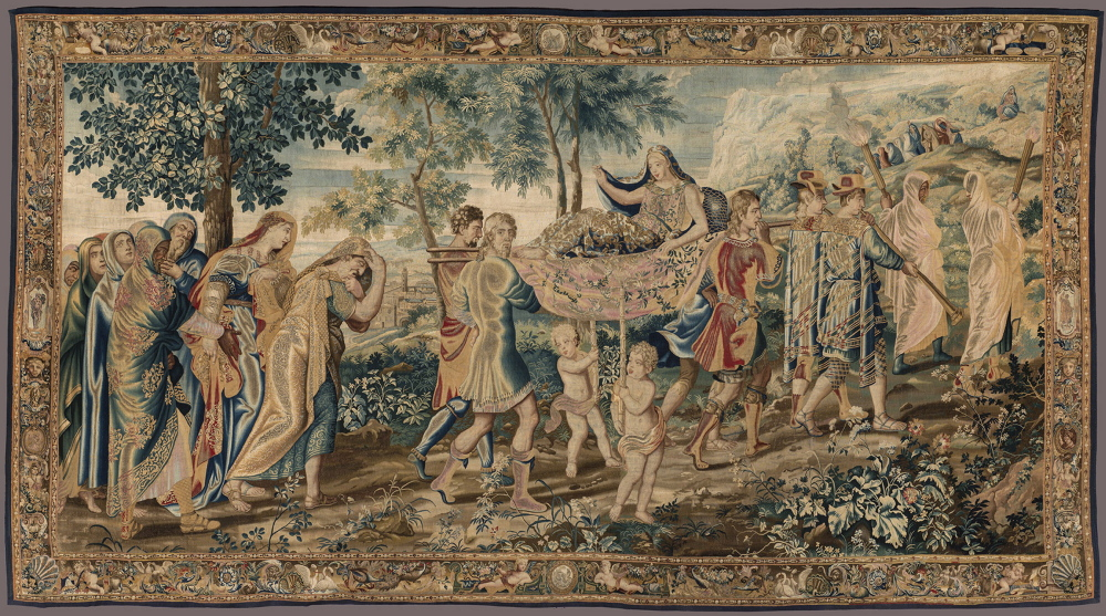 """Psyche Carried to the Mountain,"" French, Paris, ca. 1660, wool, silk, gold thread. From ""Weaving the Myth of Psyche: Baroque Tapestries from the Wadsworth Atheneum."" Courtesy Wadsworth Atheneum, Hartford, Connecticut"