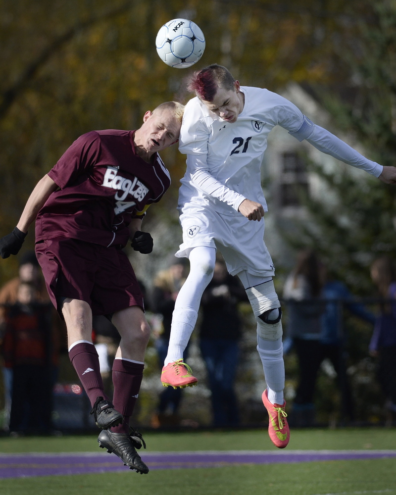 Adam LaBrie, right, playing in the state-final victory over Ellsworth, more than doubled his goal total of a year ago. He will play at Thomas College.