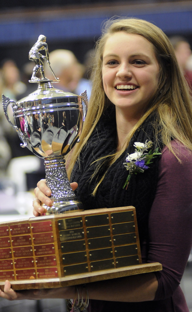 Maddy Dobecki of Scarborough was chosen as the 17th winner of the Miss Maine FIeld Hockey award, presented to the state's top high school senior.