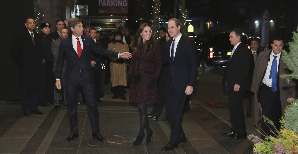 Kate, Duchess of Cambridge, center left, and Britain's Prince William arrive at The Carlyle Hotel in New York on Sunday.