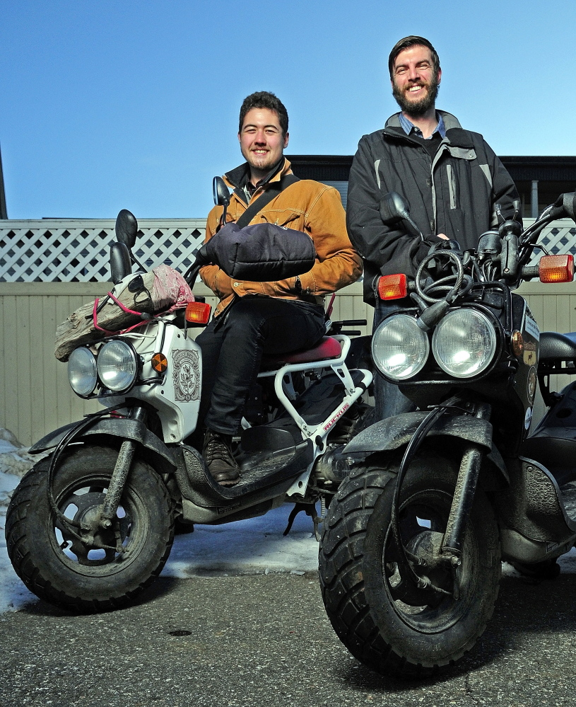 Myles Chung, left, and Dan Emery used these Honda scooters to travel around the country as they learned about hunger and hunger programs in America.