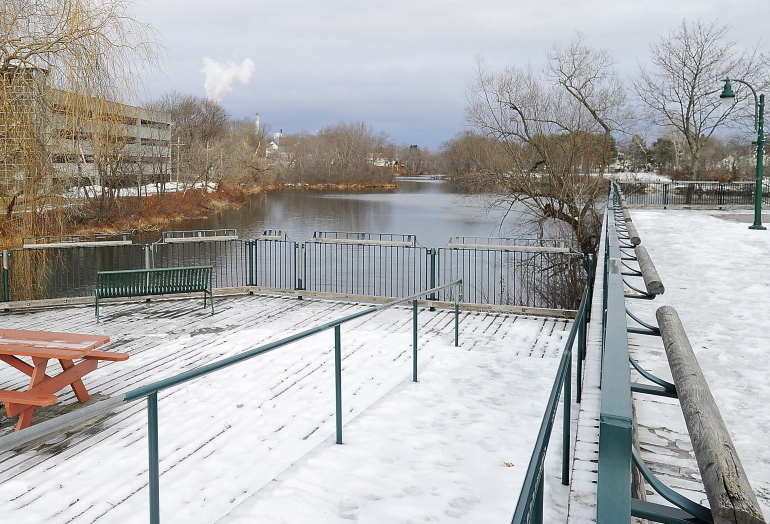 This body of water, part of the Presumpscot River, is being considered by Westbrook planners for development as a recreational area. It lies next to the Riverwalk and Bridge Street. Removing a hydroelectric dam would open up falls in the river to boaters and fish.