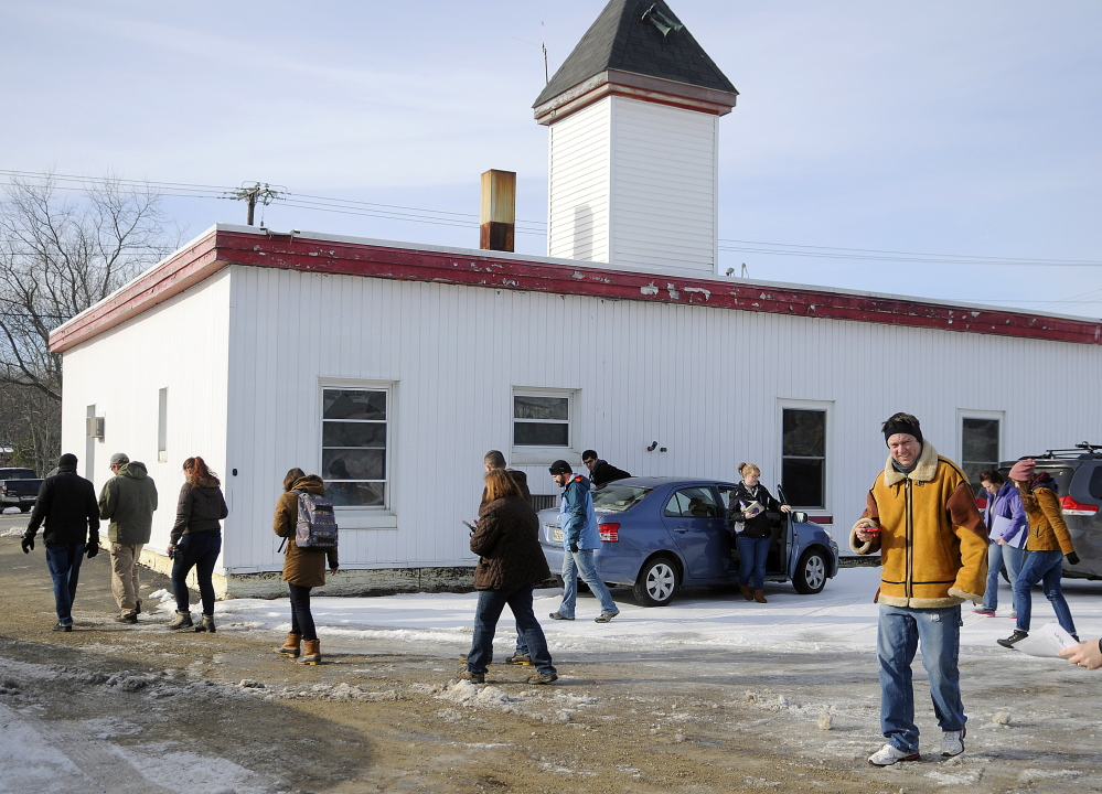 University of Maine at Augusta architecture students tour the Randolph fire station Monday.
