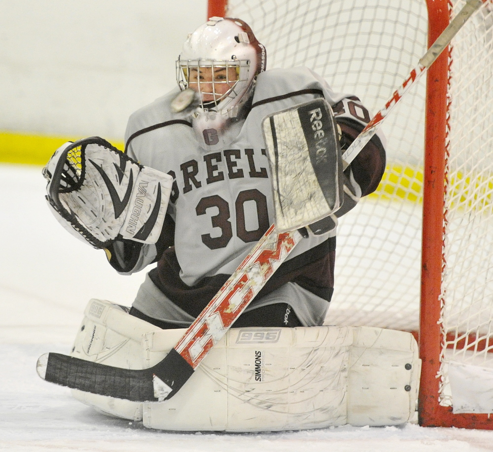 Kyle Kramlich has considerable experience in goal for Greely, which reached the Western B regional final last winter. Kramlich had a 3.00 goals-against average and a .900 save percentage.
