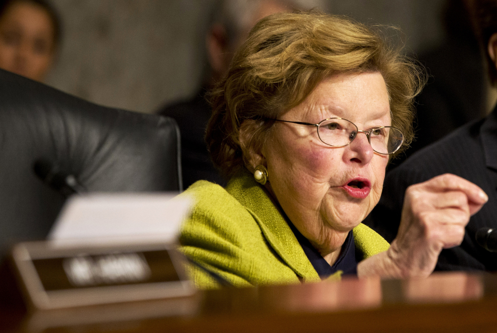 The Associated Press Senate Appropriations Committee Chair Sen. Barbara Mikulski, D-Md., speaks on Capitol Hill in Washington. Lawmakers are finalizing a sweeping $1.1 trillion spending bill to fund the government through September and prevent a shutdown later this week.