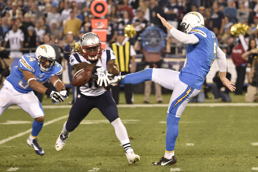 Brandon Bolden's block of Mike Scifres' punt was among the first-half momentum-shifters in the Patriots' victory over the Chargers on Sunday. New England scored a touchdown a few plays later en route to a 23-14 victory.