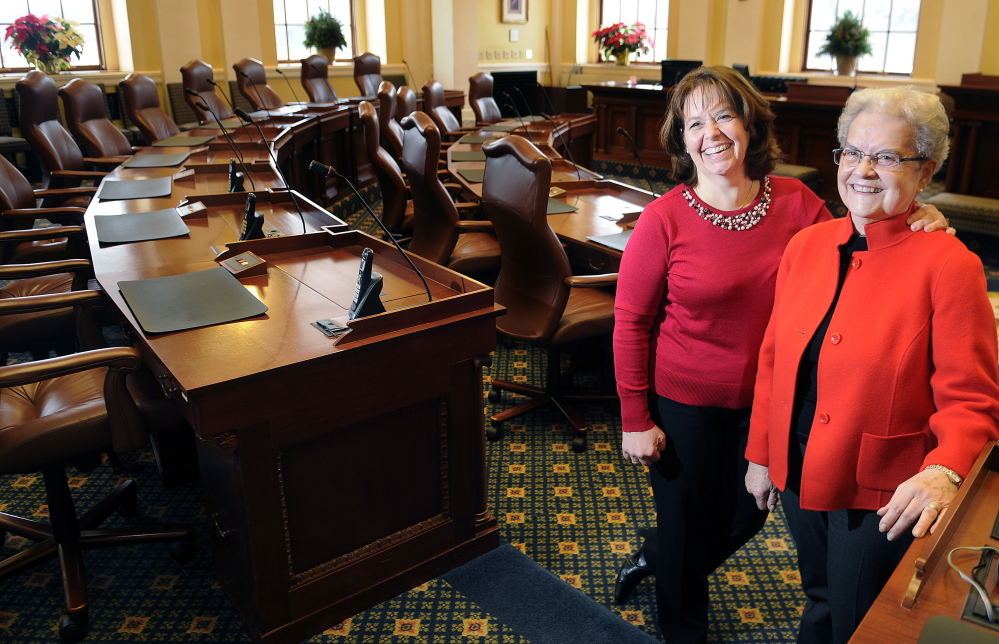 Heather Priest, left, is the new secretary of the Senate, following her mother, May M. Ross Coffin, who held the same position until 1996.