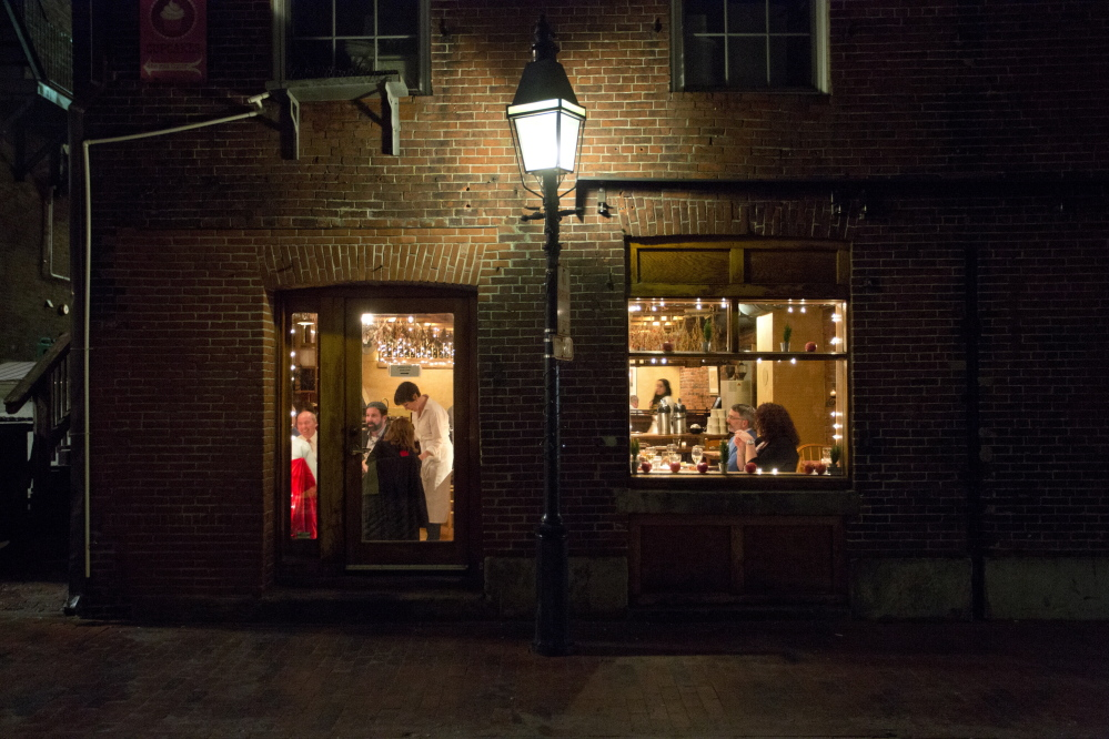 On the outide looking in at Street and Co. on Wharf Street in Portland's Old Port.
