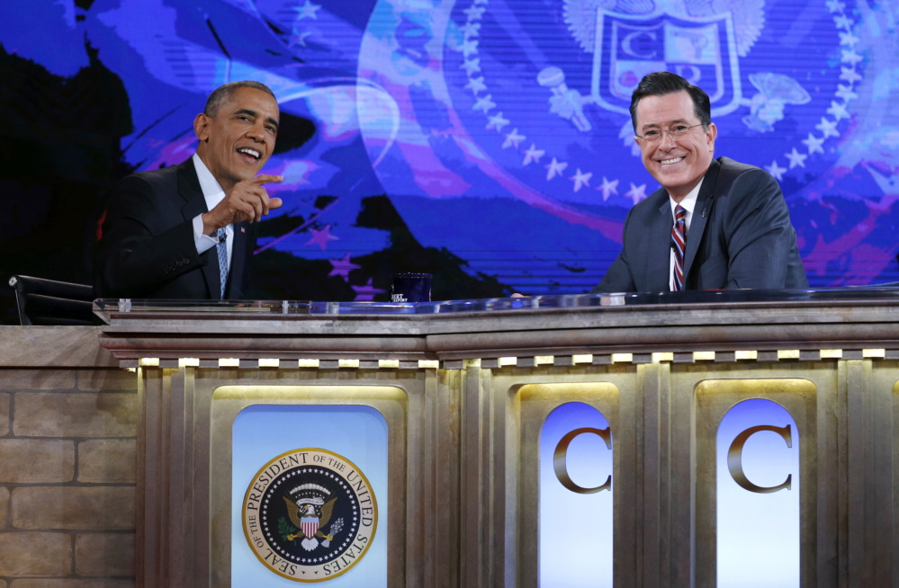 """Stephen Colbert hosted President Obama on the Dec. 8 """"Colbert Report."""" Colbert is bound for CBS and """"The Late Show"""" seat that David Letterman will vacate next year."""