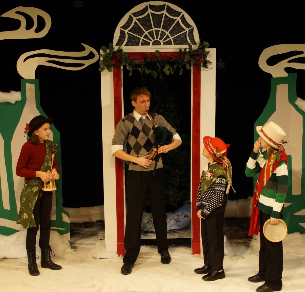 """Thomas Ian Campbell and young castmates in the American Irish Repertory Ensemble's """"A Celtic Christmas"""" at the Studio Theater at Portland Stage Company."""