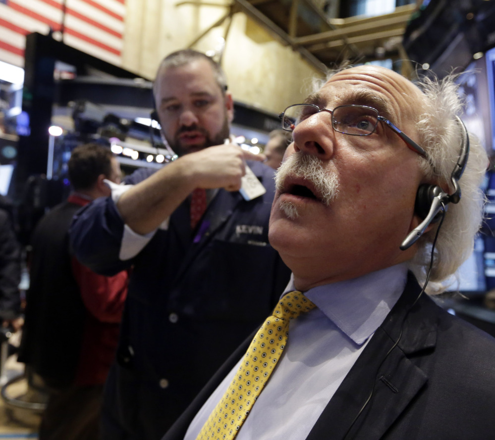 NYSE traders Peter Tuchman, right, and Kevin Lodewick had a tough week as the market slumped.