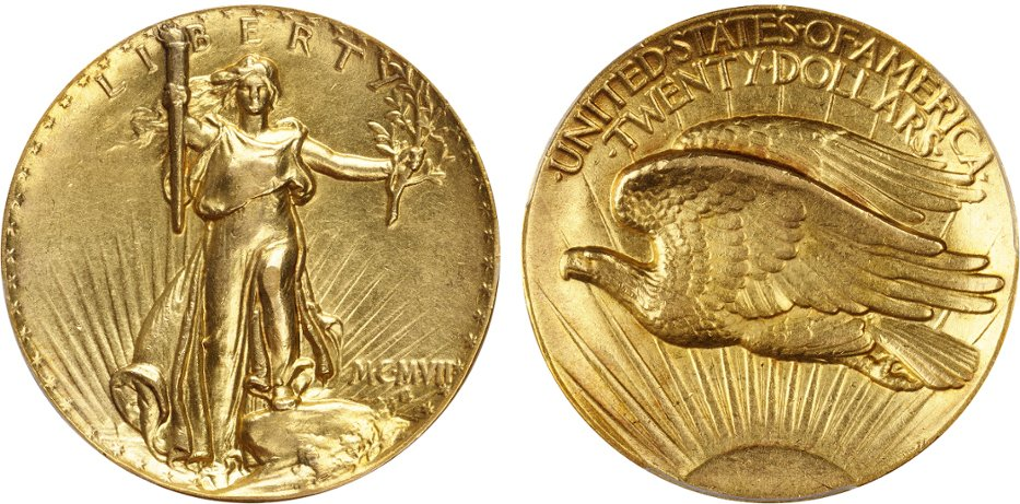 This 1907 double eagle $20 coin was designed by noted American sculptor Augustus Saint-Gaudens.