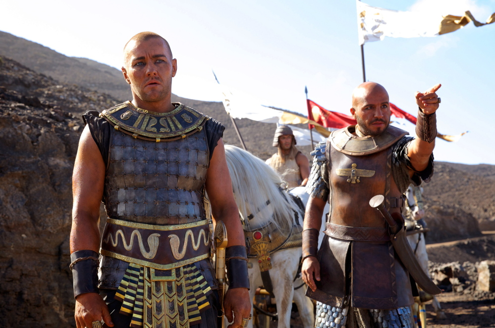 """Joel Edgerton, left, and Dar Salim are shown in a scene from """"Exodus: Gods and Kings,"""" from Twentieth Century Fox."""